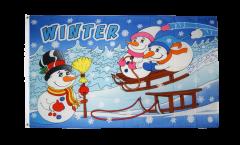 Drapeau Hiver avec bonhomme de neige - 90 x 150 cm