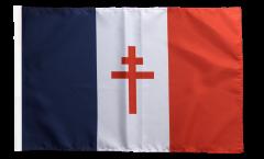Drapeau France libre 1940-43 - Croix de Lorraine avec ourlet