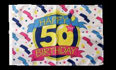 Drapeau Happy Birthday 50 avec ourlet