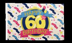 Drapeau Happy Birthday 60 avec ourlet