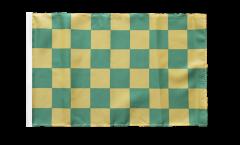 Drapeau Damier Vert-Jaune avec ourlet