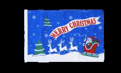 Drapeau Merry Christmas Père Noël bleu avec ourlet