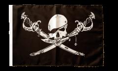 Drapeau Pirate avec sabre avec ourlet