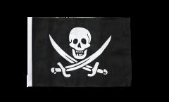 Drapeau Pirate avec deux épées avec ourlet
