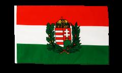 Drapeau Hongrie avec Blason avec ourlet
