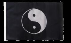 Drapeau Ying et Yang noir avec ourlet