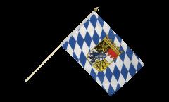 Drapeau Allemagne Bavière avec blason sur hampe