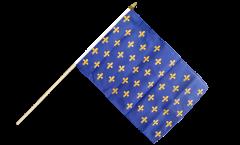 Drapeau France Fleur-de-Lys, bleu sur hampe