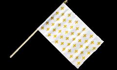 Drapeau France Fleur-de-Lys, blanc sur hampe - 30 x 45 cm