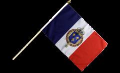 Drapeau France Blason royal sur hampe - 30 x 45 cm