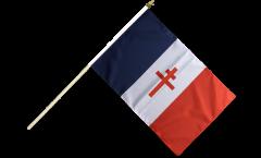 Drapeau France libre 1940-43 - Croix de Lorraine sur hampe - 30 x 45 cm