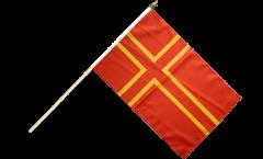 Drapeau France Normandie Croix de Saint Olaf sur hampe
