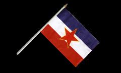 Drapeau Yougoslavie ancien sur hampe