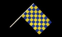 Drapeau Damier Bleu-Jaune sur hampe