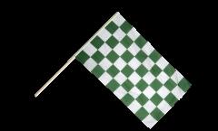 Drapeau Damier Vert-Blanc sur hampe