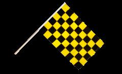 Drapeau Damier Noir-Jaune sur hampe