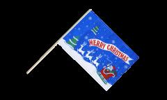 Drapeau Merry Christmas Père Noël bleu sur hampe