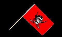 Drapeau Pirate rouge sur hampe