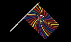 Drapeau Arc en Ciel Peace Swirl sur hampe - 30 x 45 cm