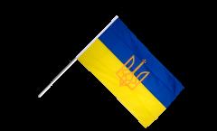Drapeau Ukraine avec Blason sur hampe