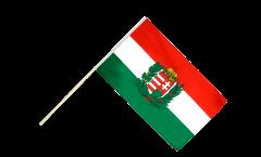 Drapeau Hongrie avec Blason sur hampe