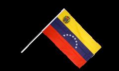 Drapeau Venezuela 8 Etoiles avec Blason sur hampe