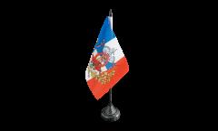 Drapeau de table France avec blason, mini drapeau - 10 x 15 cm