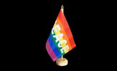 Drapeau de table Arc en Ciel avec PEACE, petit drapeau - 15 x 22 cm