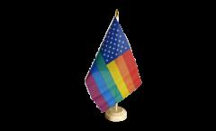 Drapeau de table USA Etats-Unis Arc en Ciel